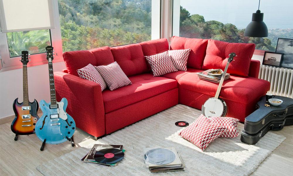 Sofá de ângulo reversível com cama OSCAR renovar sala