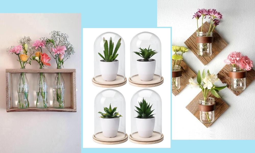 Flores, madera y cristal en casa