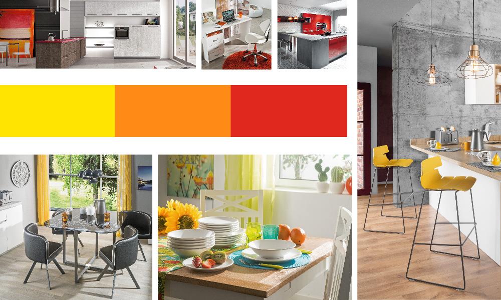 Cores quentes como o vermelho, amarelo e laranja na sua decoração