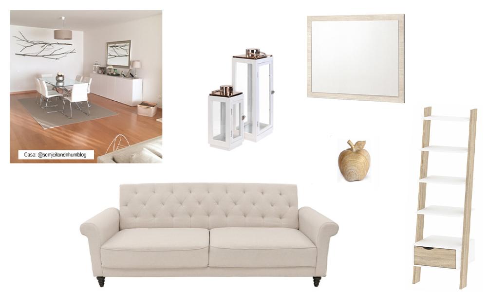 Sala de estar de inspiração escandinava com sofá-cama CERVANTES