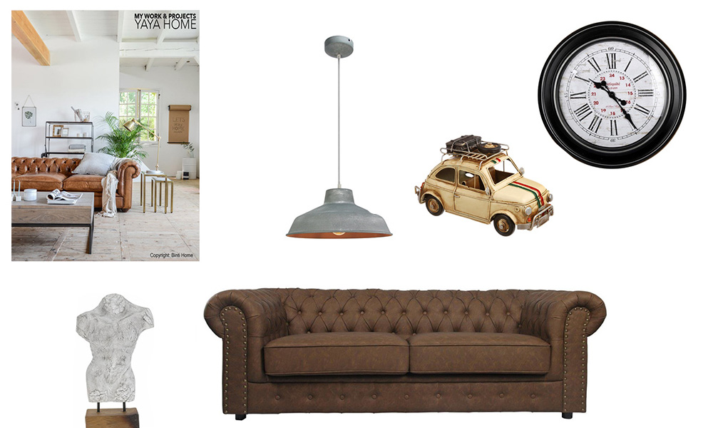 Sala de estarde estilo chesterfield com sofá ANDREW