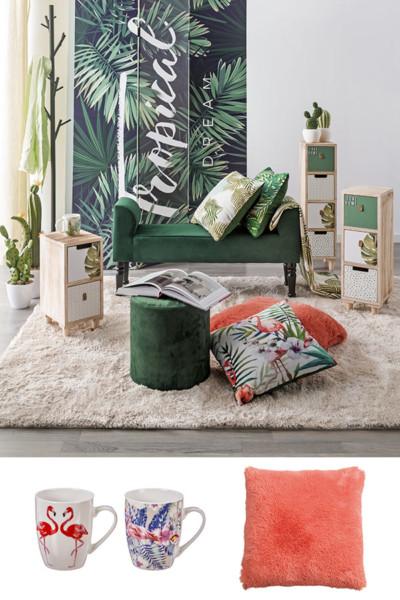 Estilo Jungle e cor coral, fusão de tendências Conforama