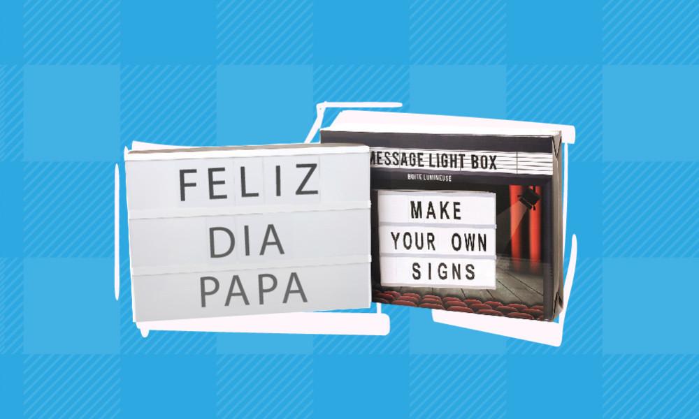 Caixa com mensagens LUZ LED Conforama para o Dia do Pai