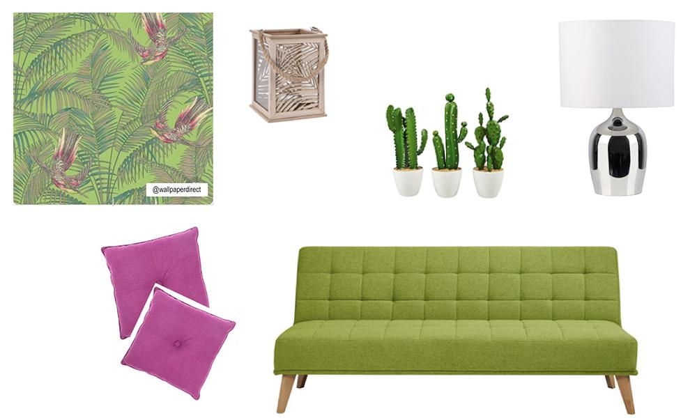 Sala de estar com inspiração exótica com sofá-cama OLIVIA